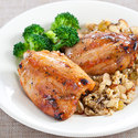 Grilled Chicken with Red Currant Glaze and Quick Wild Rice