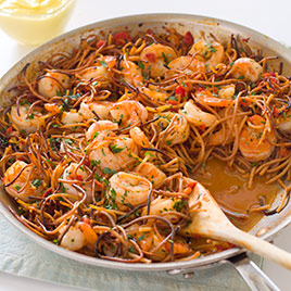 Spanish Style Toasted Pasta With Shrimp America S Test Kitchen