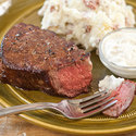 Filet Mignon with Smashed Potatoes and Horseradish Sauce