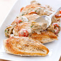 Chicken in Creamy Parmesan Sauce with Artichokes and Tomatoes