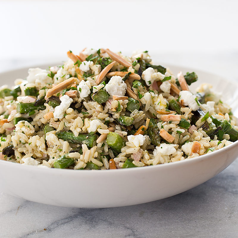 Brown Rice Salad with Asparagus, Goat Cheese, and Lemon Recipe - Cook ...