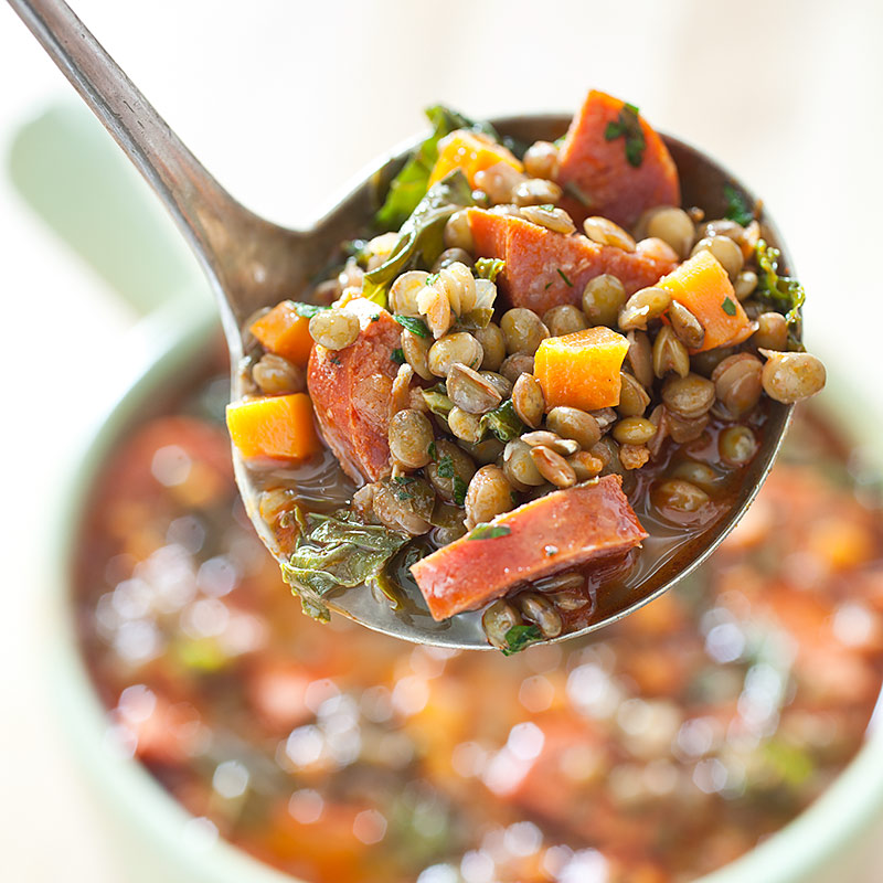 Hearty Spanish-Style Lentil and Chorizo Soup with Kale Recipe - Cook's ...