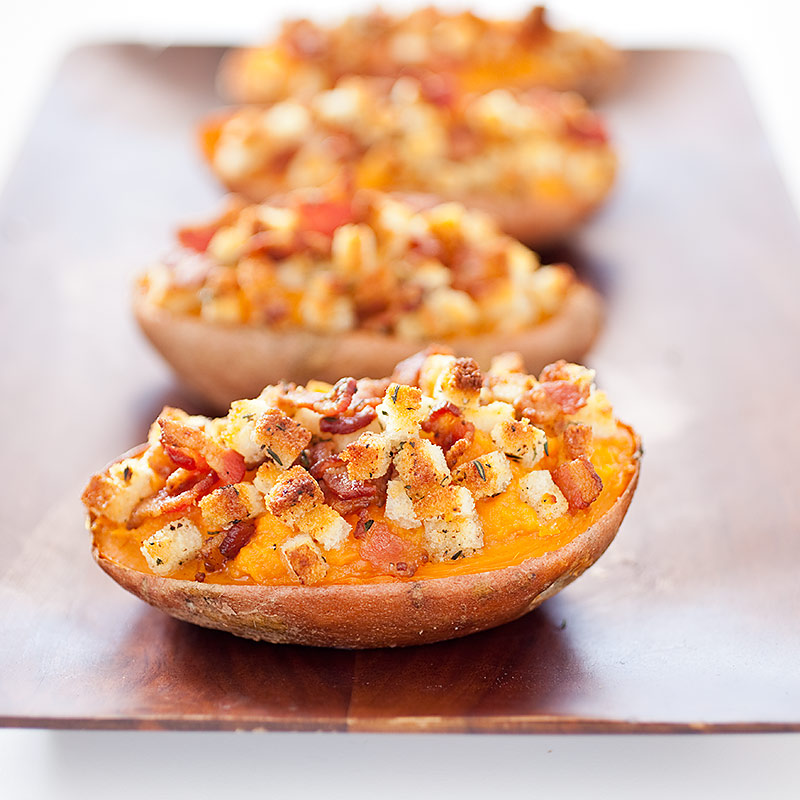 Twice-Baked Sweet Potatoes with Bacon Topping Recipe - Cook's ...