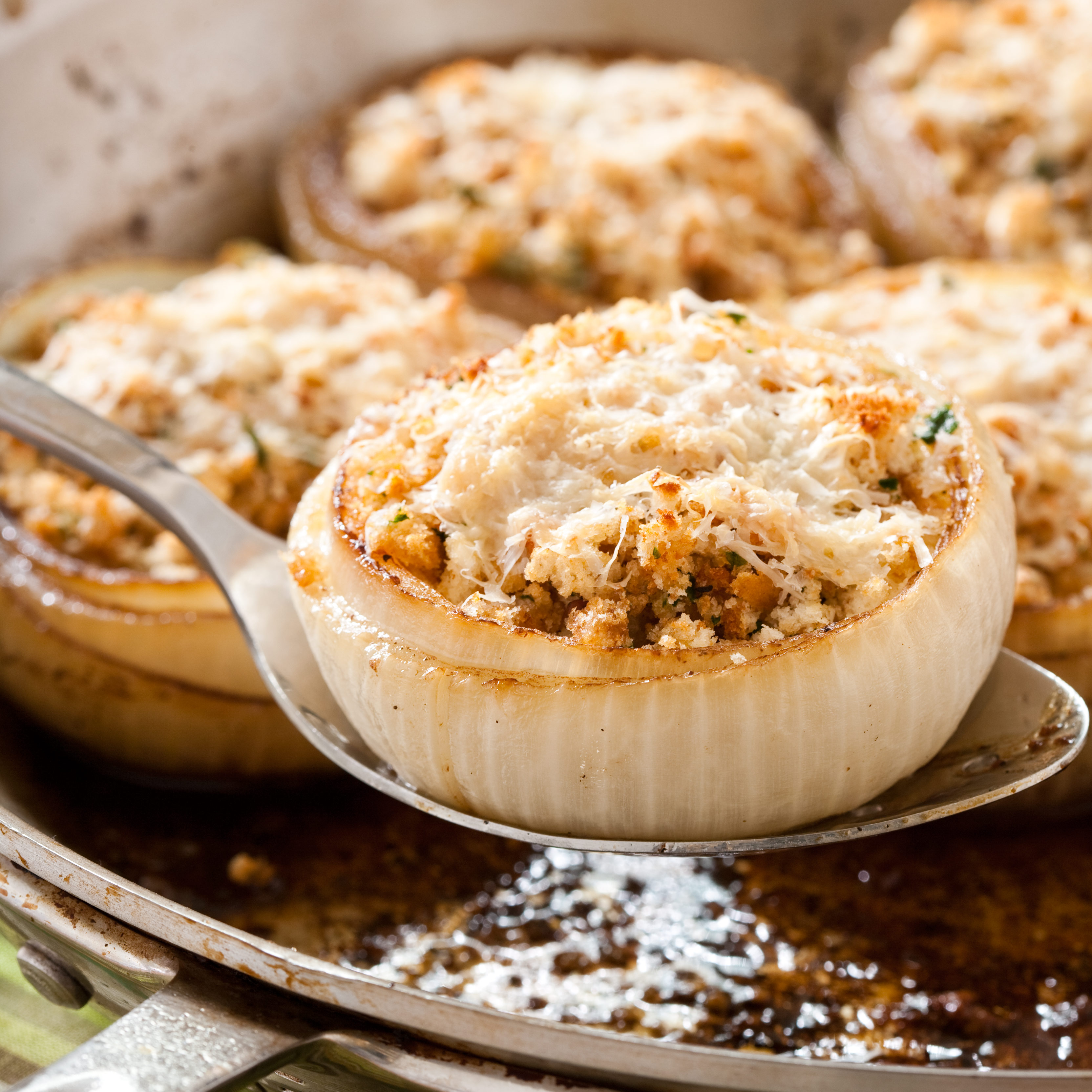 Baked Stuffed Onions with Sausage and Swiss Chard Recipe - Cook's ...