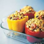 Stuffed Bell Peppers with Spiced Lamb, Currants, and Feta Cheese