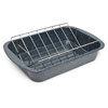 Granite-Ware Open Rectangle Roaster with Non-Stick V-Rack