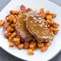 Pork Cutlets with Sweet Potatoes and Maple Pan Sauce