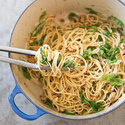 Pasta with Roasted Garlic Sauce, Arugula, and Walnuts