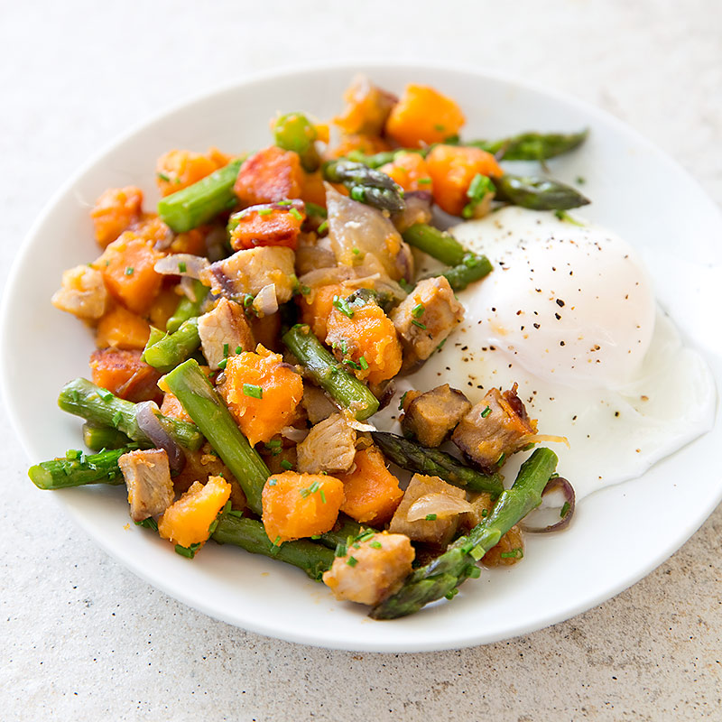 Ham, Asparagus, and Sweet Potato Hash