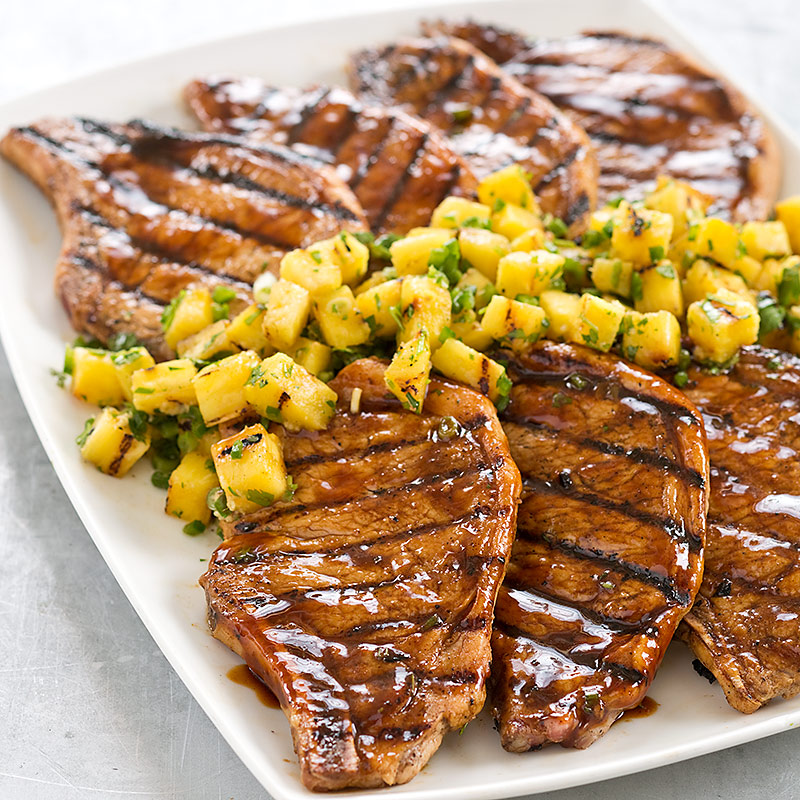 Grilled Hoisin-Glazed Pork Chops with Pineapple Salsa