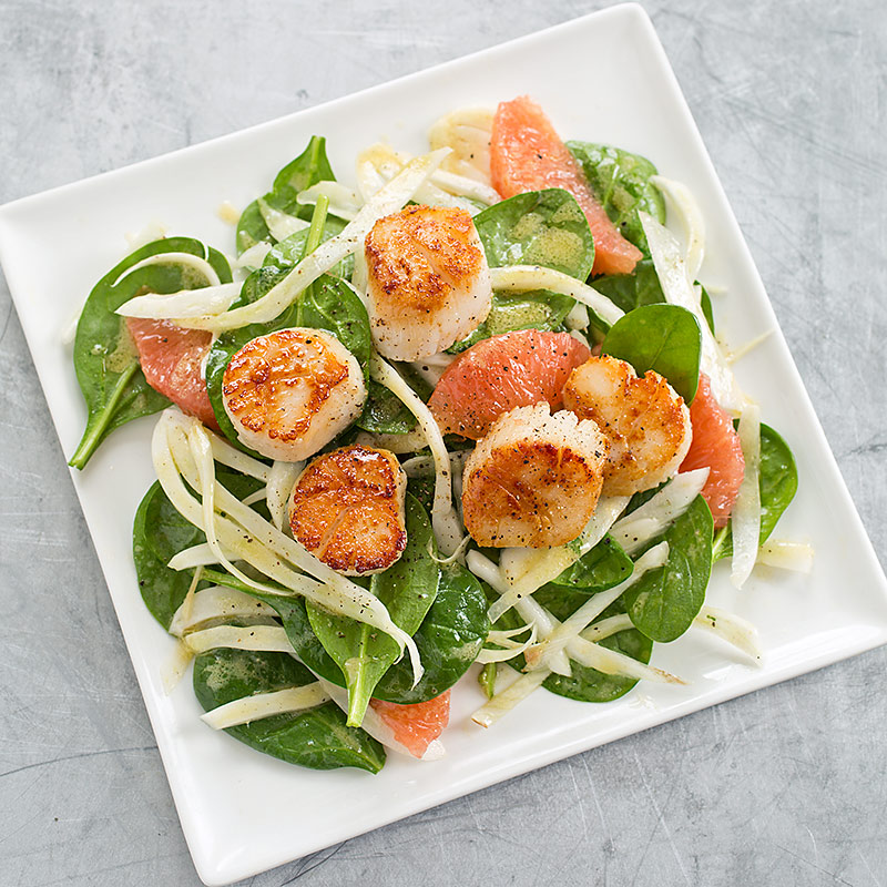 Seared Scallops with Spinach, Fennel, and Grapefruit Salad ...