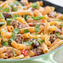 Skillet Ziti with Sausage and Summer Squash