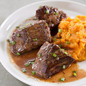 Bourbon-Butter Steak Tips with Maple Mashed Sweet Potatoes