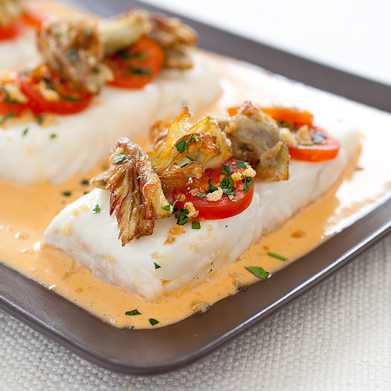 poached fish fillets with sherry tomato vinaigrette