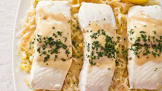 Braised Halibut With Leeks And Mustard America S Test Kitchen