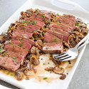 Strip Steaks with Sauteed Onions and Mushrooms
