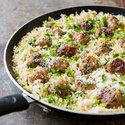Skillet Turkey Meatballs with Lemony Rice