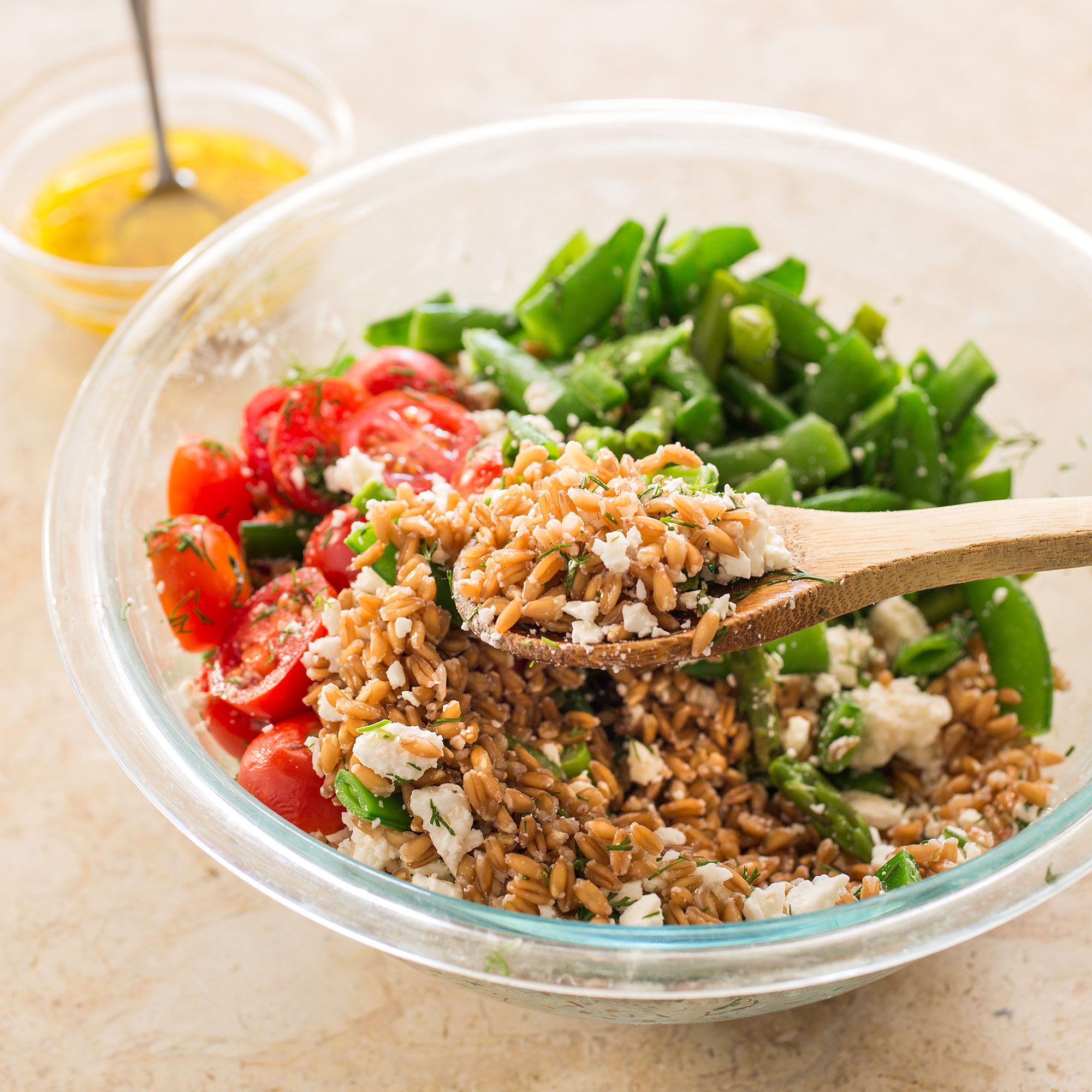 Farro Salad with Asparagus, Sugar Snap Peas, and Tomatoes ...