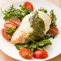 Mozzarella Chicken with Arugula-Pesto Salad