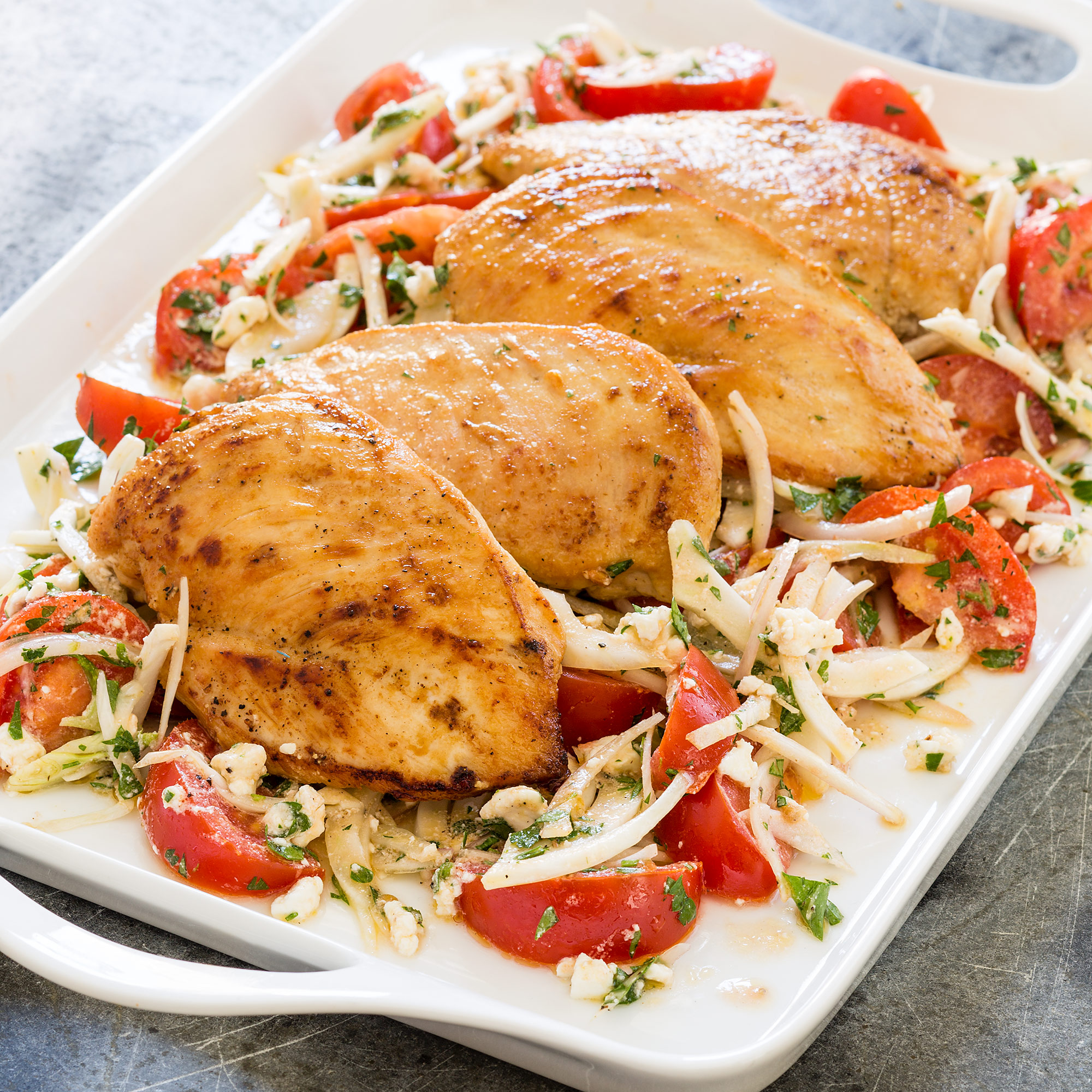 Pan Seared Chicken Breasts With Marinated Tomatoes