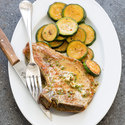 Pork Chops with Sauteed Zucchini and Mustard Butter