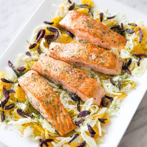Pan-Roasted Salmon with Fennel and Orange Salad | Cook's ...