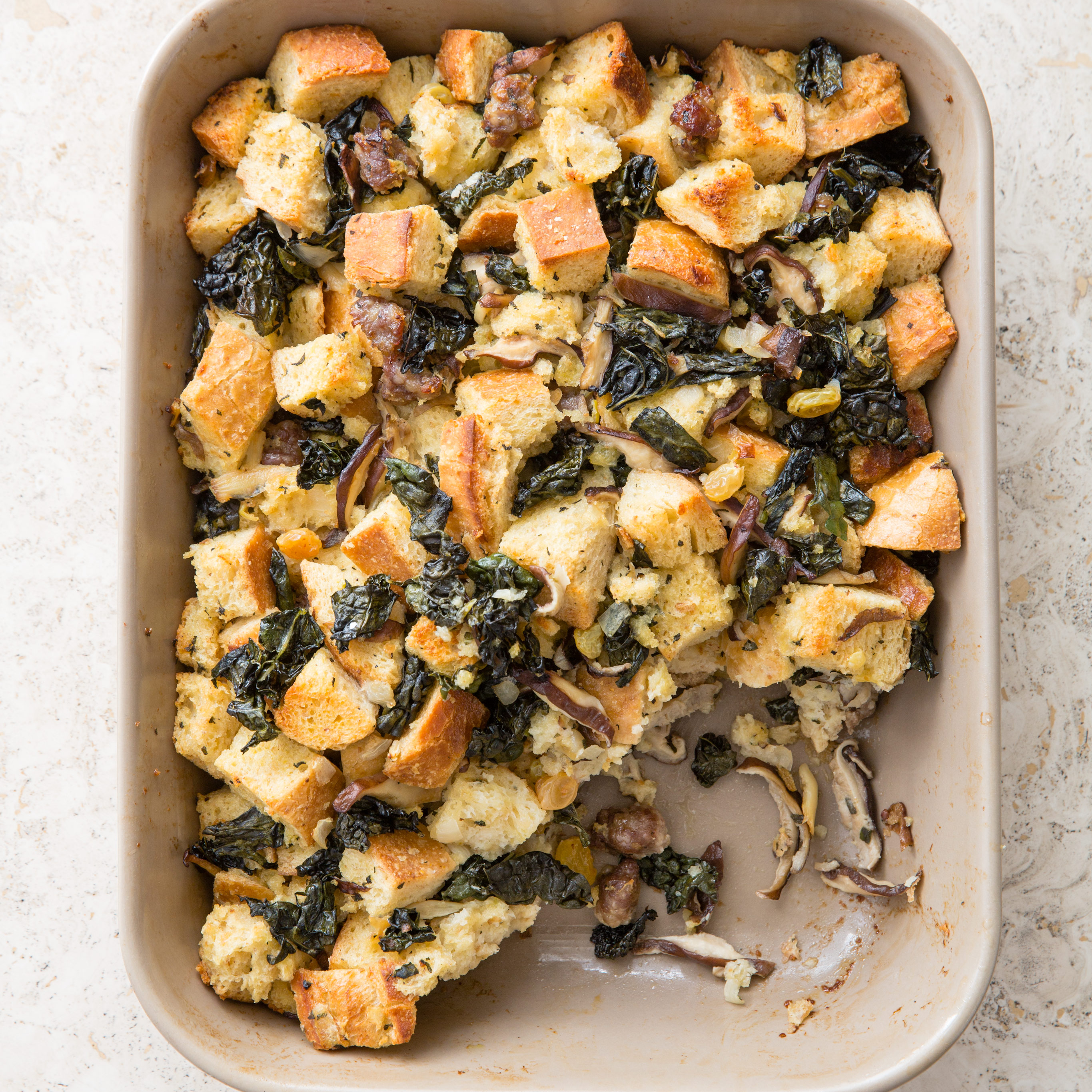 Sourdough Stuffing With Mushrooms, Apples, & Sage Recipe — Dishmaps
