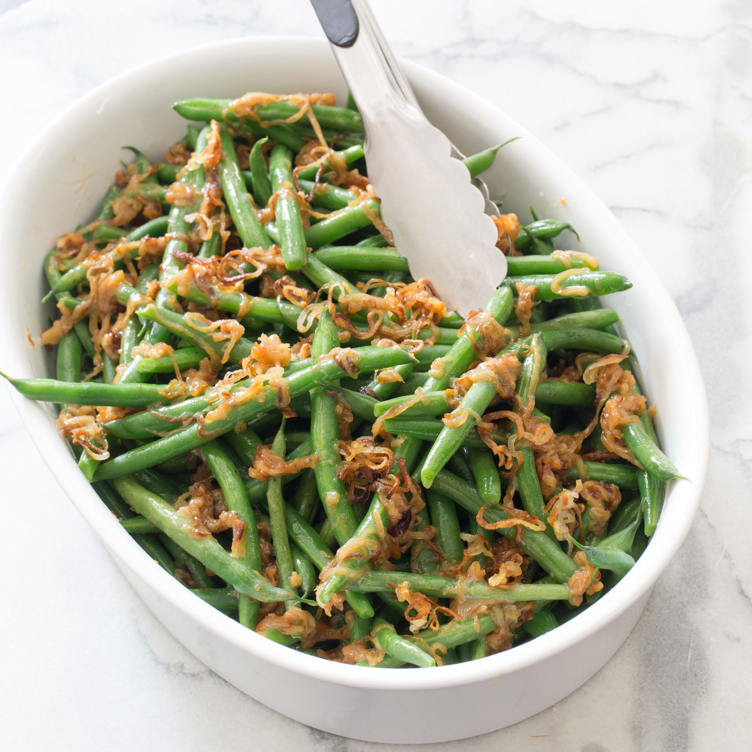 Green Beans with Sauteed Shallots and Vermouth