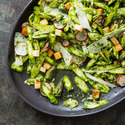 Asparagus Salad with Radishes, Pecorino Romano, and Croutons