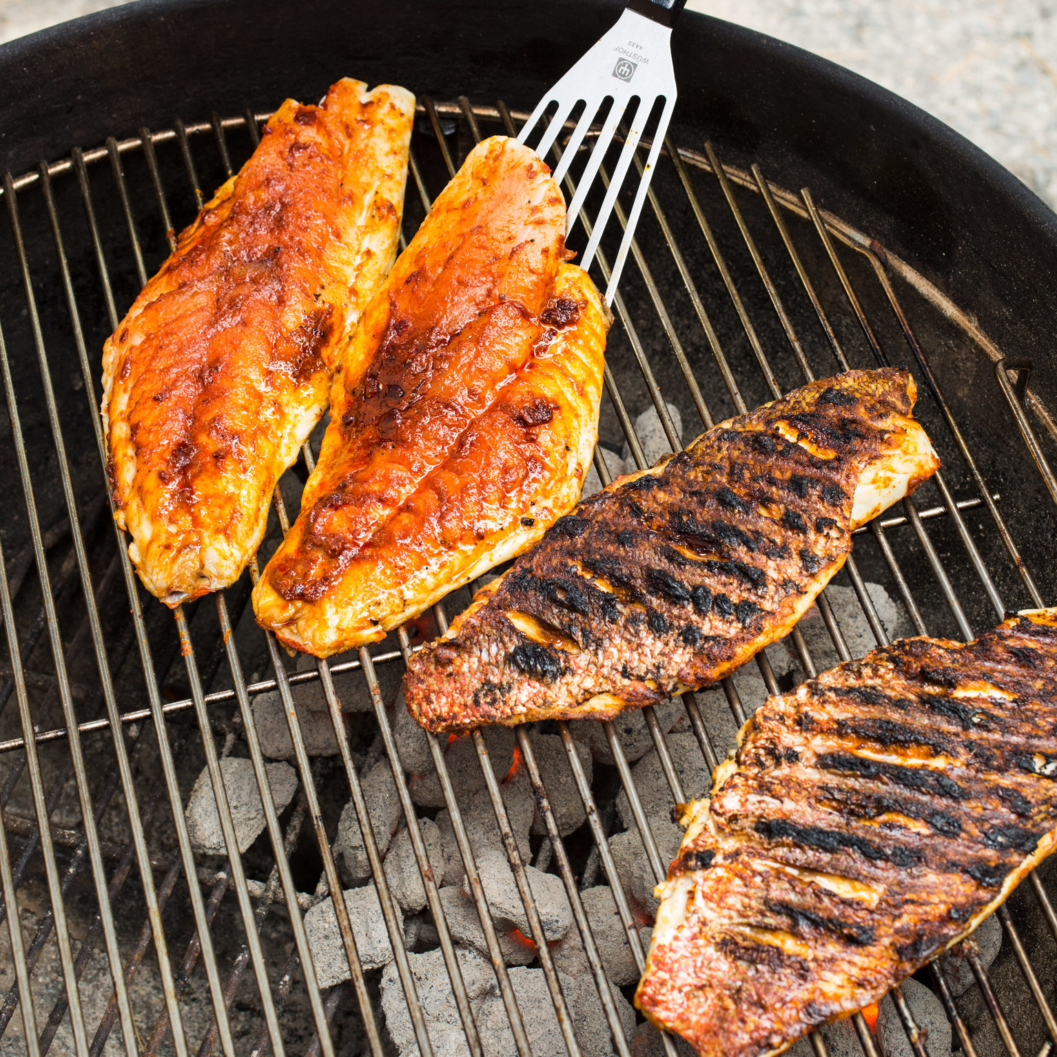 Charcoal grilled blackened red snapper for The fish grill