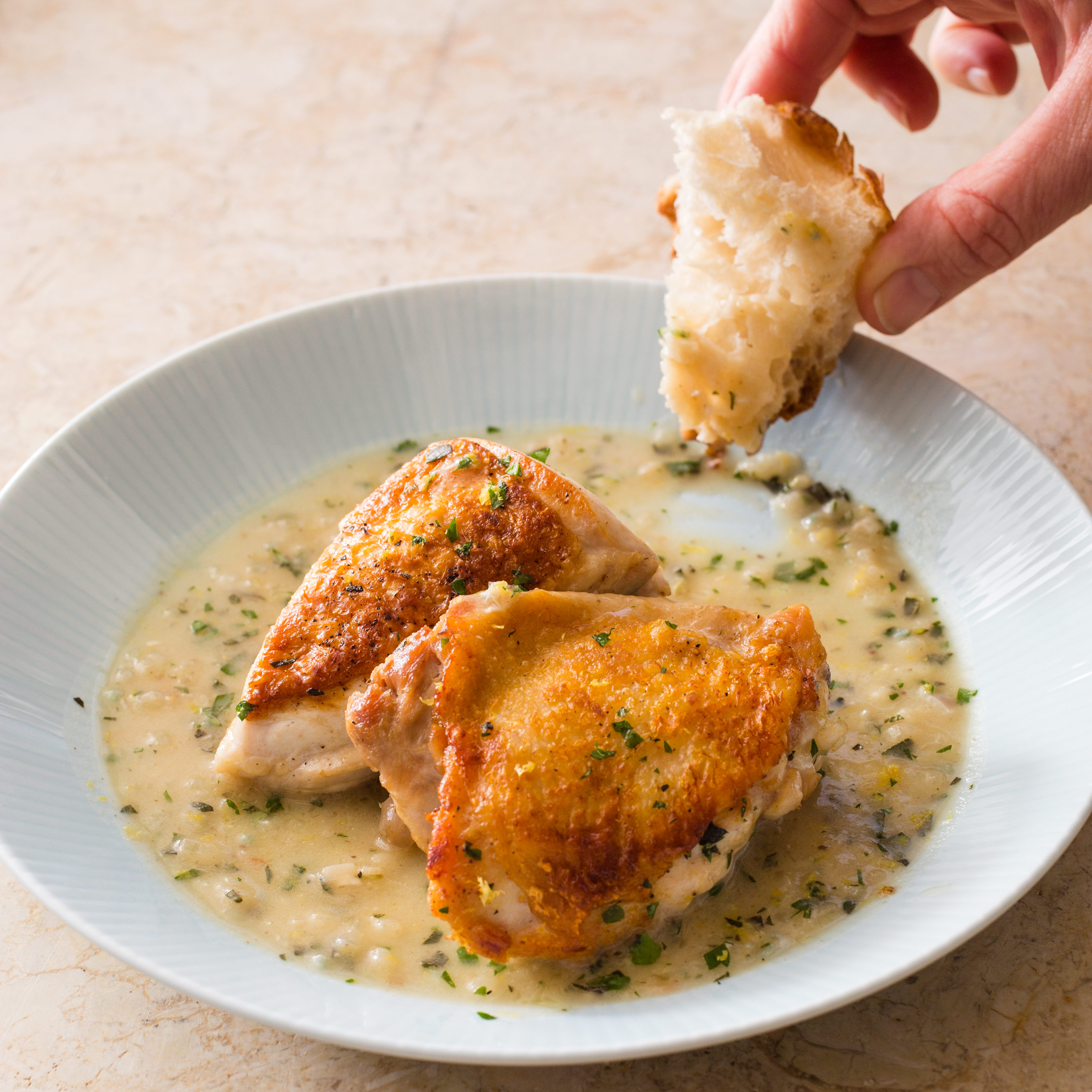 Kitchen Recipes: Skillet-Roasted Chicken In Lemon Sauce