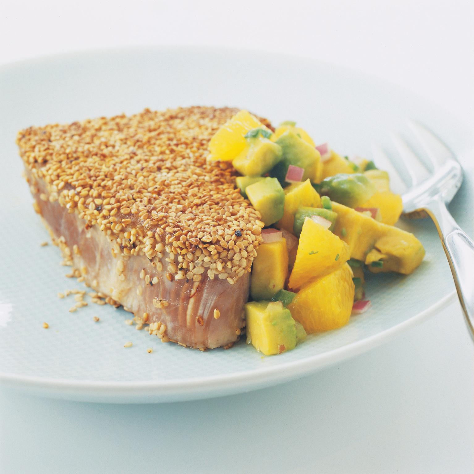 Pan-Seared Sesame-Crusted Tuna Steaks