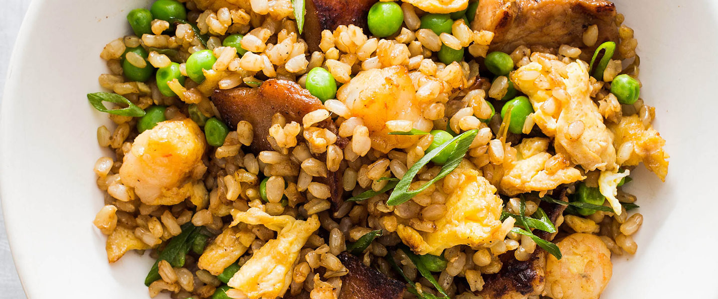 Fried Brown Rice with Pork and Shrimp