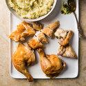 Butterflied Chicken with Garlic Smashed Potatoes