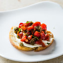 Ricotta Crostini with Roasted Red Peppers and Capers