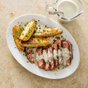 Steak with Lemon-Parsley Potato Wedges and Blue-Cheese Sauce