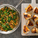 Apricot-Glazed Chicken with Chickpeas, Chorizo, and Spinach