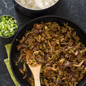 Stir-Fried Steak with Shiitake Mushrooms and Cabbage