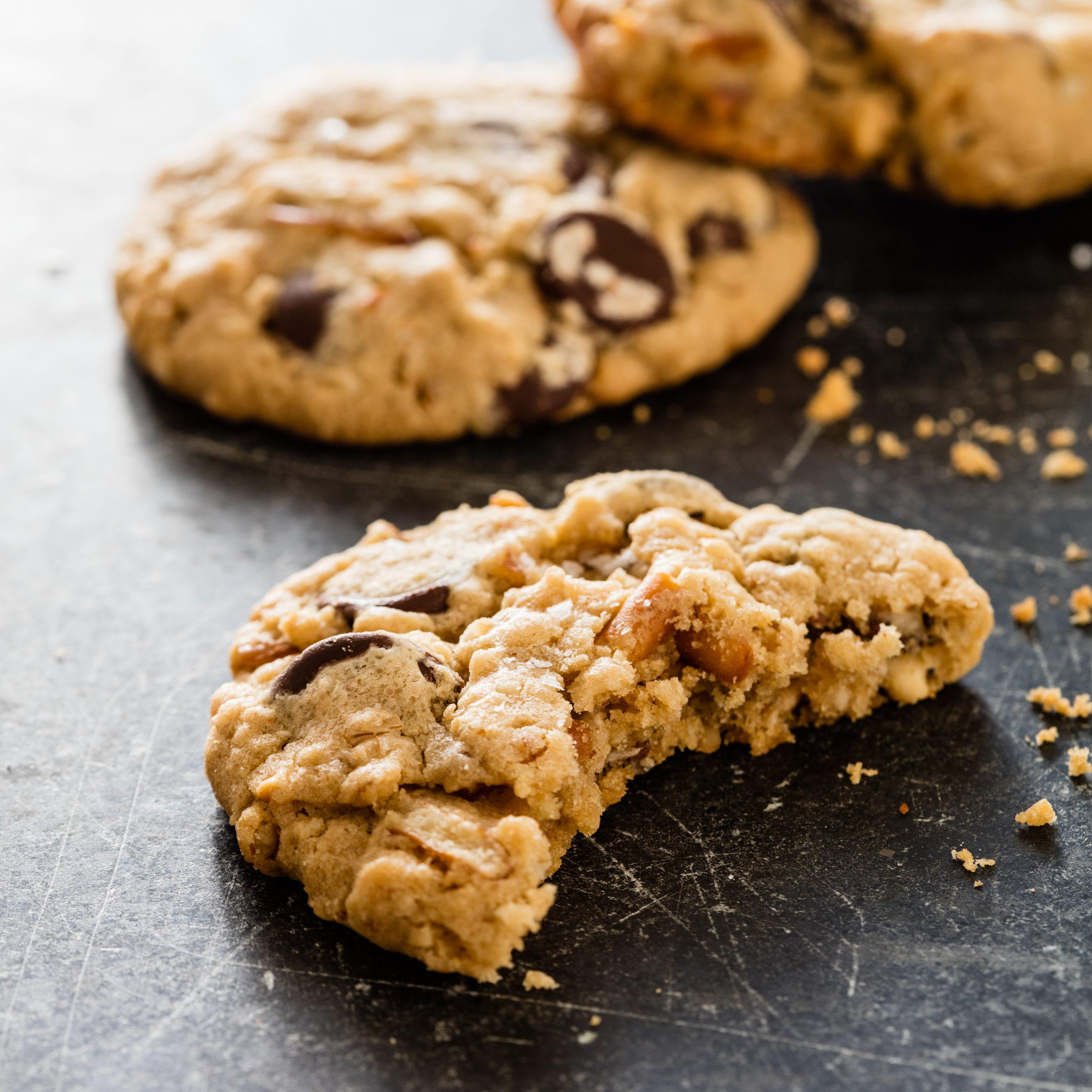 Salted Peanut Butter Pretzel Chocolate Chip Cookies America S Test Kitchen