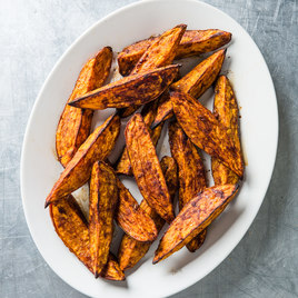 Cinnamon Sugar Roasted Sweet Potato Wedges