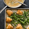 Chicken Thighs with Green Beans and Mustard Sauce