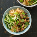 Rice Noodle Bowl with Pork and Scallions