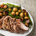 Rack of Pork with Potatoes and Asparagus