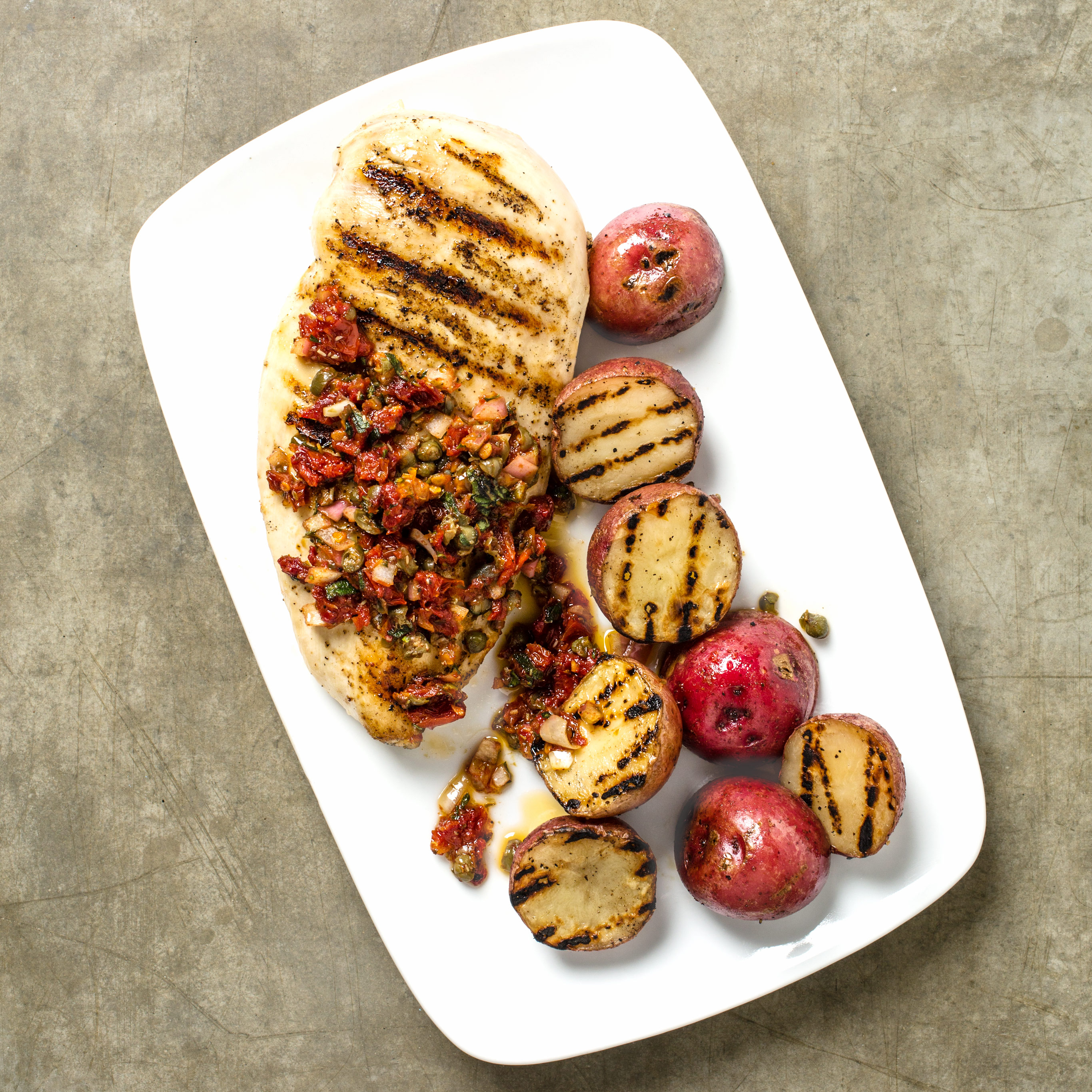 Grilled En And Potatoes With Sun Dried Tomato Relish