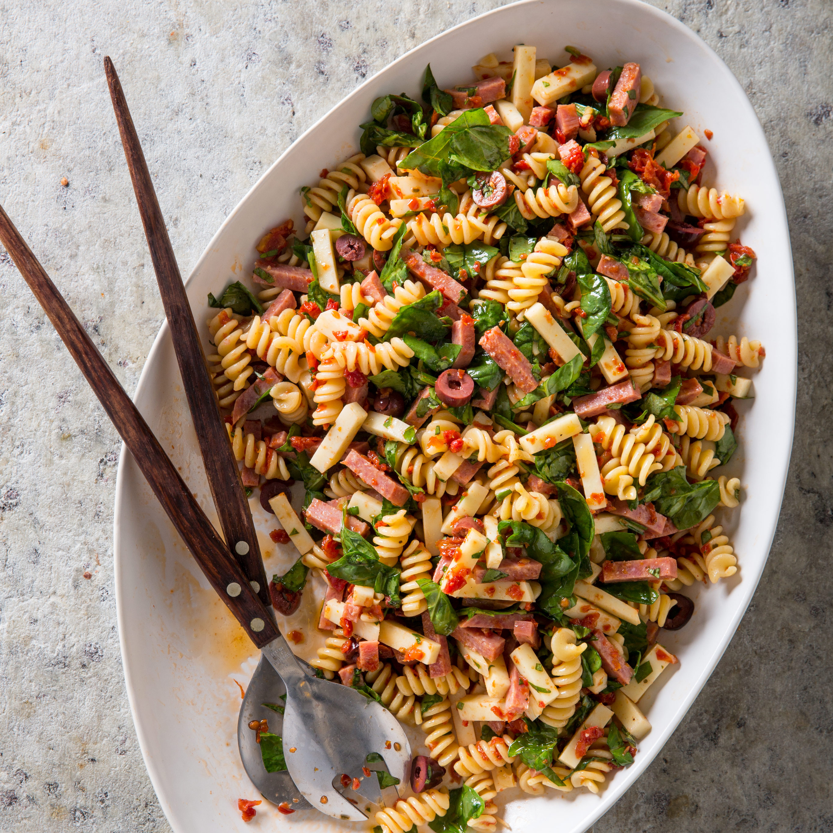 30-minute Fusilli Salad With Salami, Provolone, And Sun