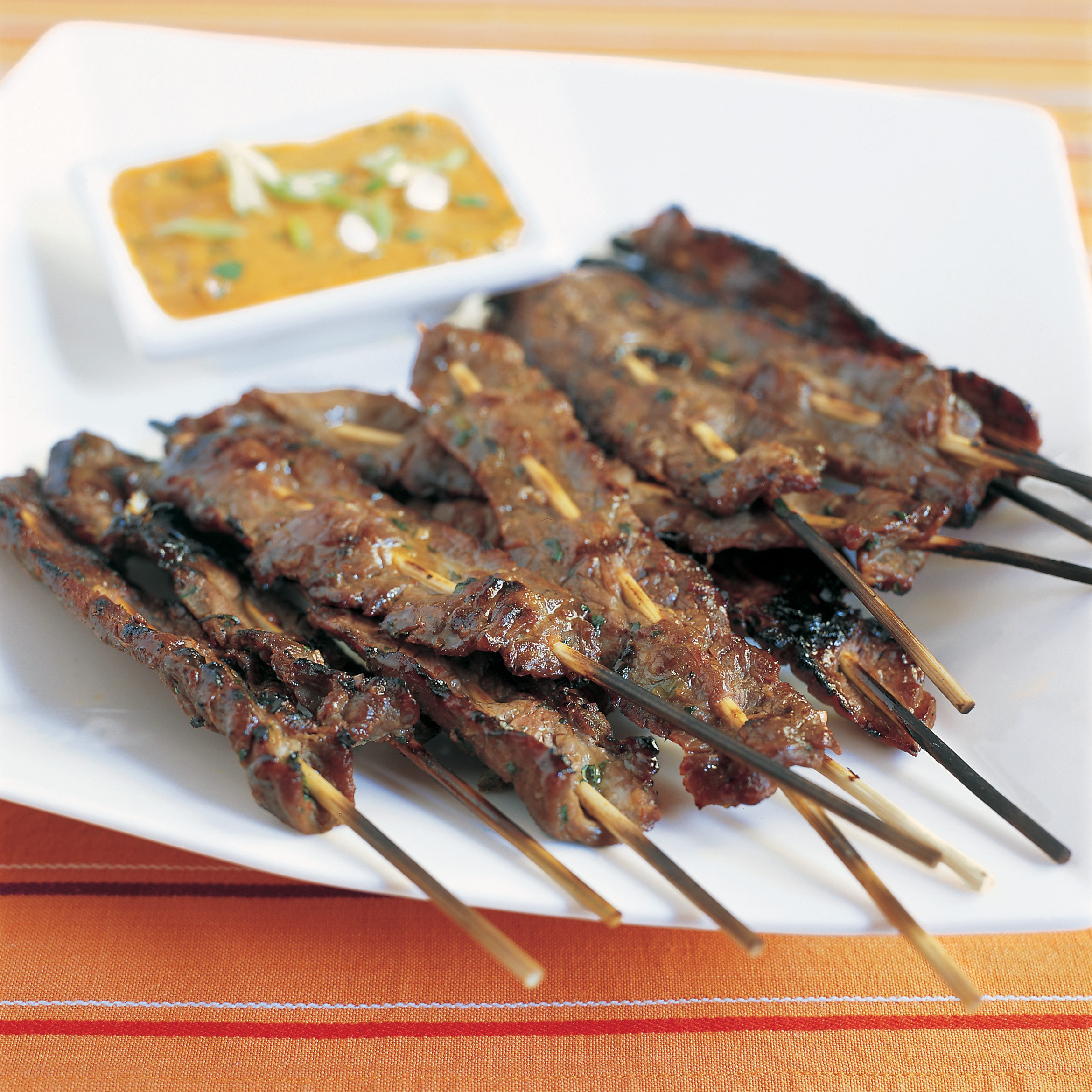 Gas-Grilled Beef Satay with Spicy Peanut Dipping Sauce Recipe - Cook's ...