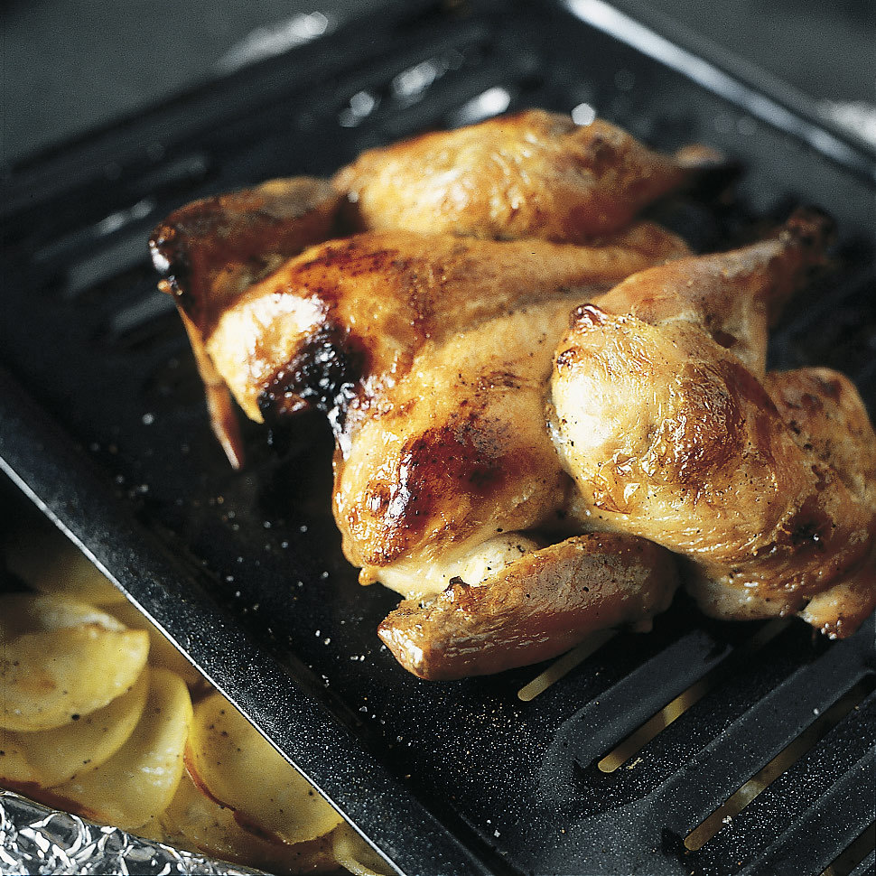 Crisp-Skin High-Roast Butterflied Chicken with Potatoes