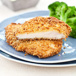 Macadamia Nut Crusted Chicken Cutlets With Wilted Spinach
