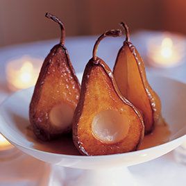 Caramelized Pears with Blue Cheese and Black Pepper-Caramel Sauce
