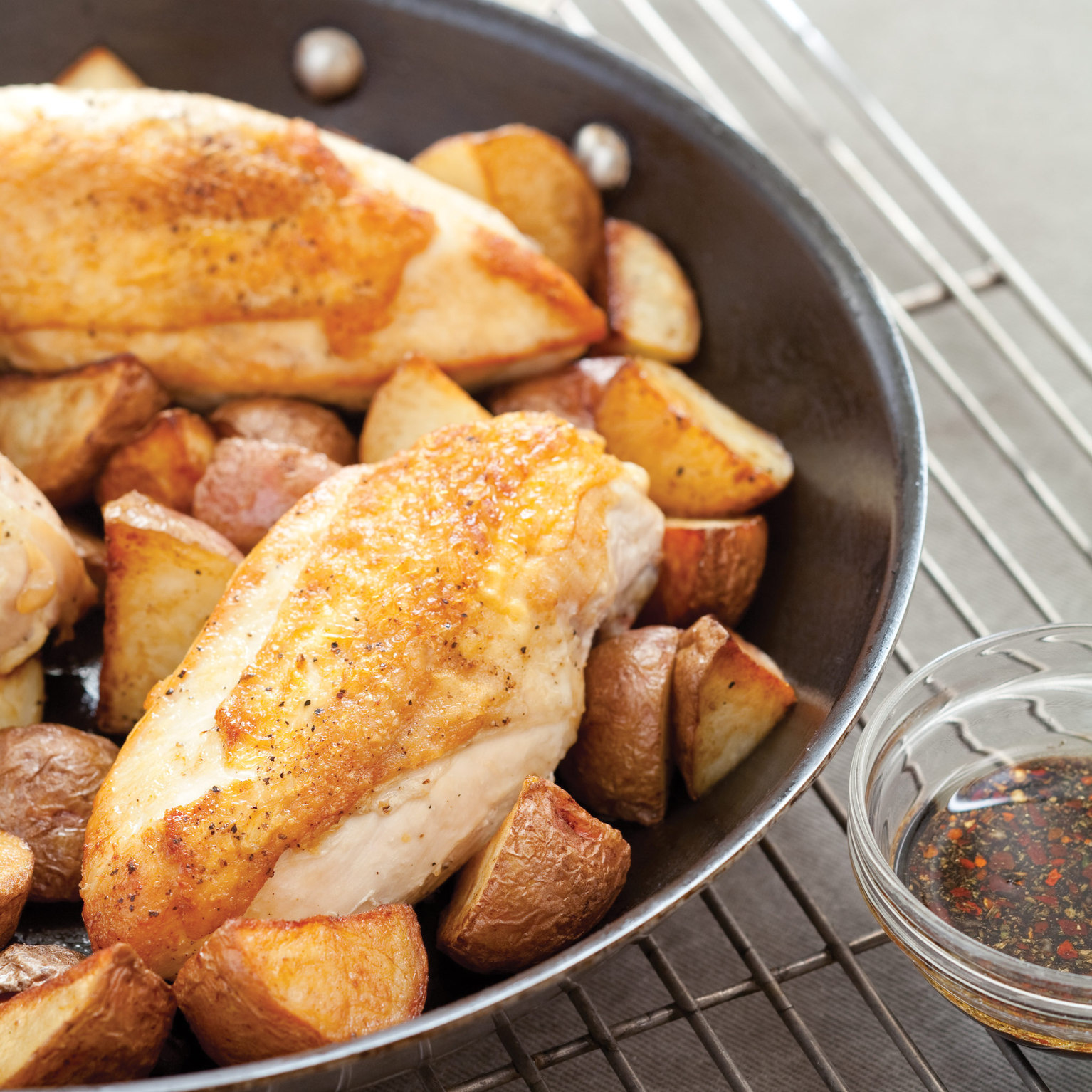 Pan-Roasted Chicken Breasts with Potatoes